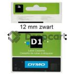 Dymo D1 zwart op wit 12mm 45013 zwart